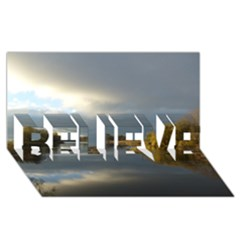 View   On The Lake Believe 3d Greeting Card (8x4)  by Costasonlineshop