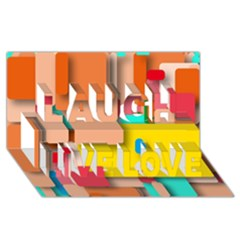 Rounded Rectangles Laugh Live Love 3d Greeting Card (8x4)  by hennigdesign