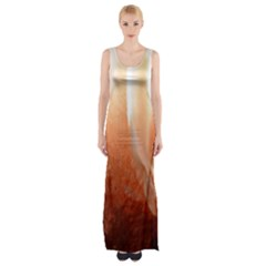 Floating Peach Maxi Thigh Split Dress by timelessartoncanvas