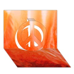 Floating Orange Peace Sign 3d Greeting Card (7x5)  by timelessartoncanvas