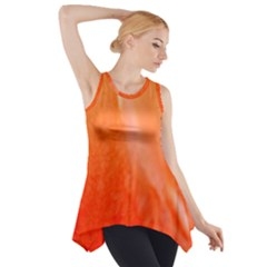 Floating Orange Side Drop Tank Tunic