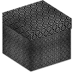 Hexagon1 Black Marble & Silver Brushed Metal Storage Stool 12  by trendistuff