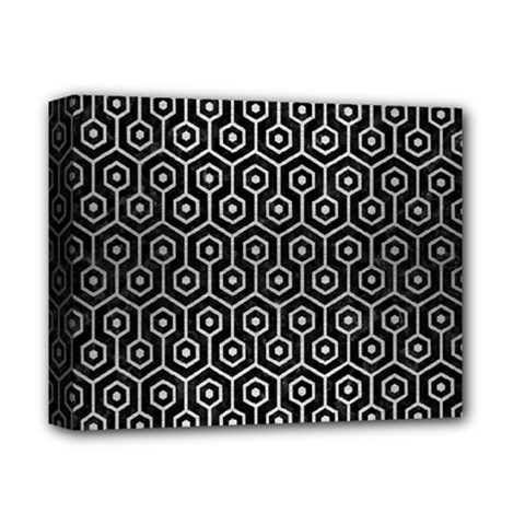 Hexagon1 Black Marble & Silver Brushed Metal Deluxe Canvas 14  X 11  (stretched) by trendistuff