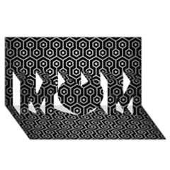 Hexagon1 Black Marble & Silver Brushed Metal Mom 3d Greeting Card (8x4)