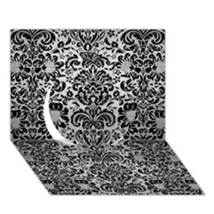 Damask2 Black Marble & Silver Brushed Metal (r) Circle 3d Greeting Card (7x5)