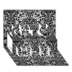 Damask2 Black Marble & Silver Brushed Metal (r) Get Well 3d Greeting Card (7x5) by trendistuff
