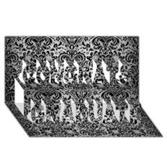 Damask2 Black Marble & Silver Brushed Metal (r) Congrats Graduate 3d Greeting Card (8x4)