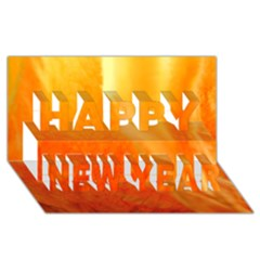 Floating Orange And Yellow Happy New Year 3d Greeting Card (8x4)  by timelessartoncanvas