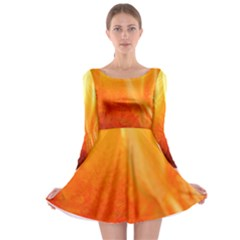 Floating Orange And Yellow Long Sleeve Skater Dress