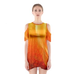Floating Orange And Yellow Cutout Shoulder Dress