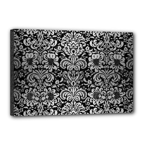 Damask2 Black Marble & Silver Brushed Metal Canvas 18  X 12  (stretched) by trendistuff