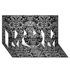 Damask2 Black Marble & Silver Brushed Metal Mom 3d Greeting Card (8x4) by trendistuff