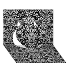 Damask2 Black Marble & Silver Brushed Metal Heart 3d Greeting Card (7x5)