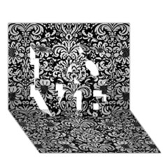 Damask2 Black Marble & Silver Brushed Metal Love 3d Greeting Card (7x5) by trendistuff