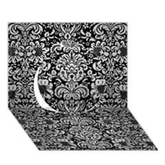 Damask2 Black Marble & Silver Brushed Metal Circle 3d Greeting Card (7x5) by trendistuff