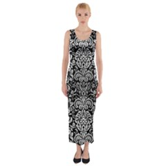 Damask2 Black Marble & Silver Brushed Metal Fitted Maxi Dress by trendistuff