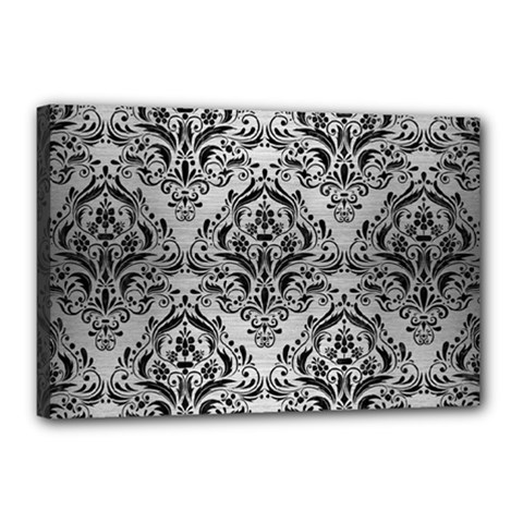 Damask1 Black Marble & Silver Brushed Metal (r) Canvas 18  X 12  (stretched) by trendistuff