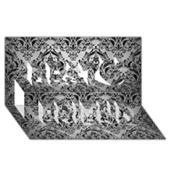 Damask1 Black Marble & Silver Brushed Metal (r) Best Friends 3d Greeting Card (8x4) by trendistuff