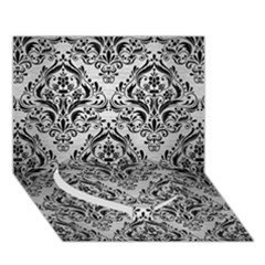 Damask1 Black Marble & Silver Brushed Metal (r) Heart Bottom 3d Greeting Card (7x5)