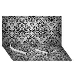 Damask1 Black Marble & Silver Brushed Metal (r) Twin Heart Bottom 3d Greeting Card (8x4)