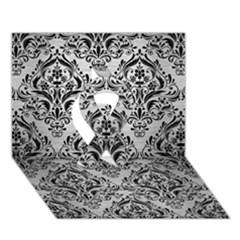 Damask1 Black Marble & Silver Brushed Metal (r) Ribbon 3d Greeting Card (7x5)