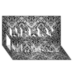 Damask1 Black Marble & Silver Brushed Metal (r) Merry Xmas 3d Greeting Card (8x4)