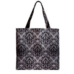 Damask1 Black Marble & Silver Brushed Metal (r) Zipper Grocery Tote Bag by trendistuff