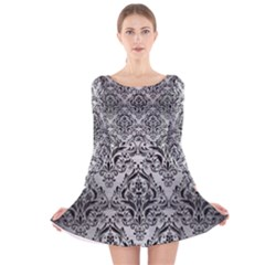 Damask1 Black Marble & Silver Brushed Metal (r) Long Sleeve Velvet Skater Dress by trendistuff