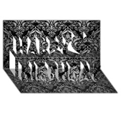 Damask1 Black Marble & Silver Brushed Metal Happy Birthday 3d Greeting Card (8x4) by trendistuff