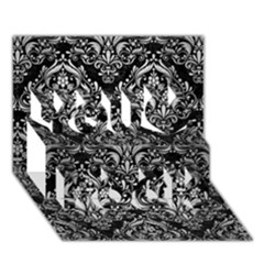 Damask1 Black Marble & Silver Brushed Metal You Rock 3d Greeting Card (7x5) by trendistuff