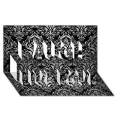 Damask1 Black Marble & Silver Brushed Metal Laugh Live Love 3d Greeting Card (8x4)