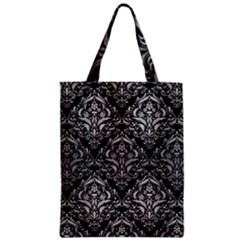 Damask1 Black Marble & Silver Brushed Metal Zipper Classic Tote Bag by trendistuff