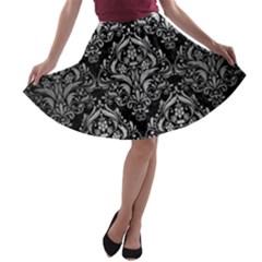 Damask1 Black Marble & Silver Brushed Metal A Line Skater Skirt by trendistuff