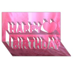 Floating Pink Happy Birthday 3d Greeting Card (8x4)  by timelessartoncanvas