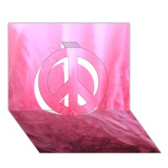 Floating Pink Peace Sign 3d Greeting Card (7x5)  by timelessartoncanvas