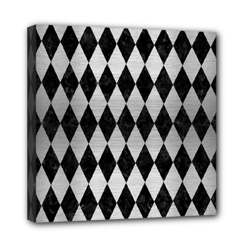 Diamond1 Black Marble & Silver Brushed Metal Mini Canvas 8  X 8  (stretched) by trendistuff