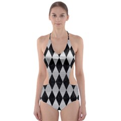 Diamond1 Black Marble & Silver Brushed Metal Cut Out One Piece Swimsuit