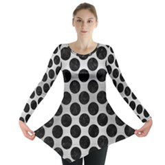 Circles2 Black Marble & Silver Brushed Metal (r) Long Sleeve Tunic