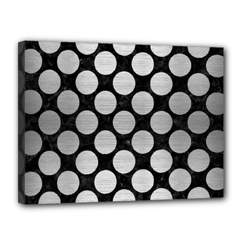 Circles2 Black Marble & Silver Brushed Metal Canvas 16  X 12  (stretched) by trendistuff