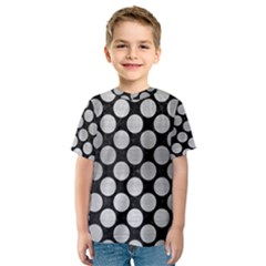 Circles2 Black Marble & Silver Brushed Metal Kids  Sport Mesh Tee
