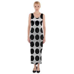 Circles1 Black Marble & Silver Brushed Metal (r) Fitted Maxi Dress by trendistuff