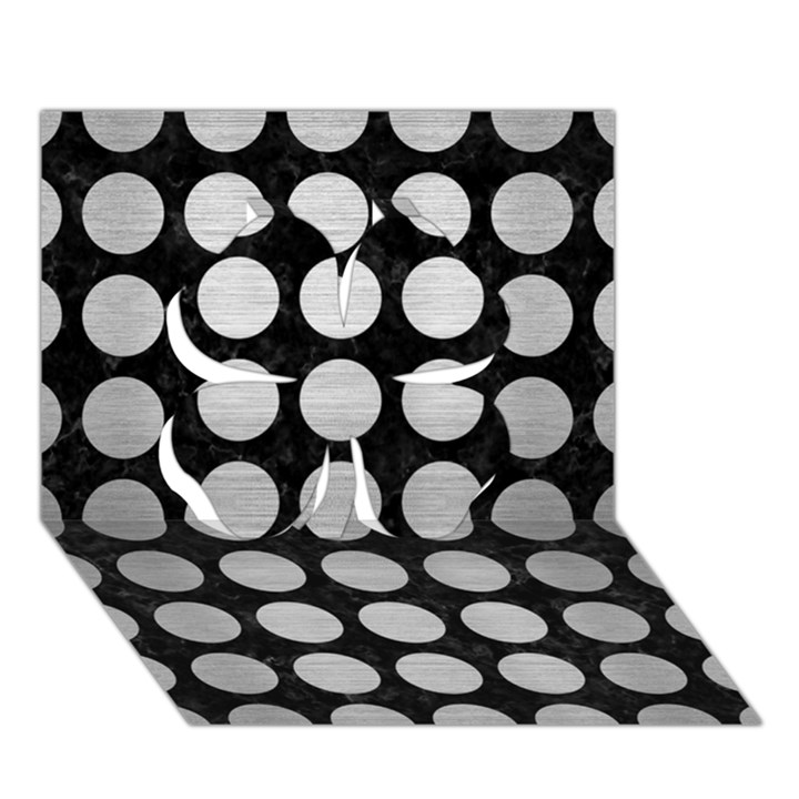 CIRCLES1 BLACK MARBLE & SILVER BRUSHED METAL Clover 3D Greeting Card (7x5)