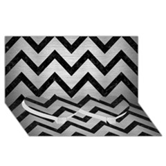 Chevron9 Black Marble & Silver Brushed Metal (r) Twin Heart Bottom 3d Greeting Card (8x4)
