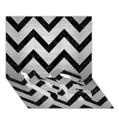 Chevron9 Black Marble & Silver Brushed Metal (r) Love Bottom 3d Greeting Card (7x5)