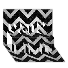 Chevron9 Black Marble & Silver Brushed Metal You Did It 3d Greeting Card (7x5)