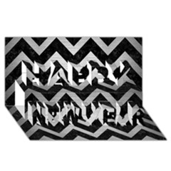 Chevron9 Black Marble & Silver Brushed Metal Happy New Year 3d Greeting Card (8x4)