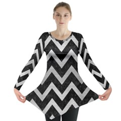 Chevron9 Black Marble & Silver Brushed Metal Long Sleeve Tunic