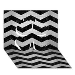 Chevron3 Black Marble & Silver Brushed Metal Clover 3d Greeting Card (7x5)