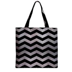 Chevron3 Black Marble & Silver Brushed Metal Zipper Grocery Tote Bag by trendistuff