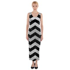 Chevron3 Black Marble & Silver Brushed Metal Fitted Maxi Dress by trendistuff